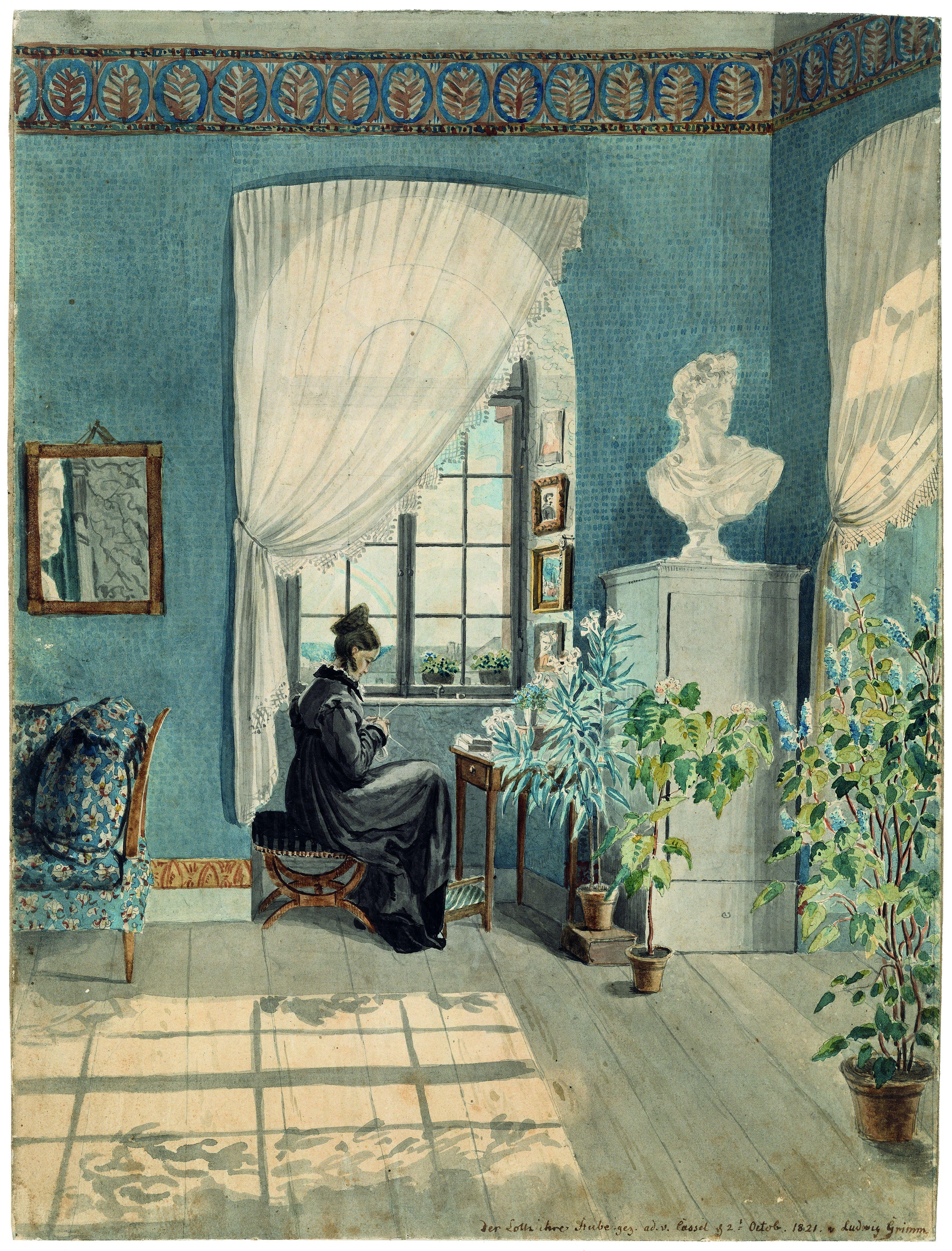 Ludwig Emil Grimm, Charlotte Amalie Grimm in ihrem Zimmer am Wilhelmshöher Tor, 1821, Aquarell über Bleistift; 32,5 x 24,3, Privatbesitz  © Engelbert Seehuber, München